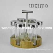 Estante de especias de bambú con mango (WBB0430A)