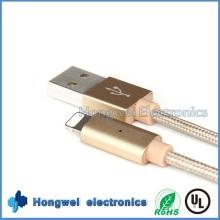 Intelligent USB Charged Data Braided Breathing LED Light iPhone USB Cable