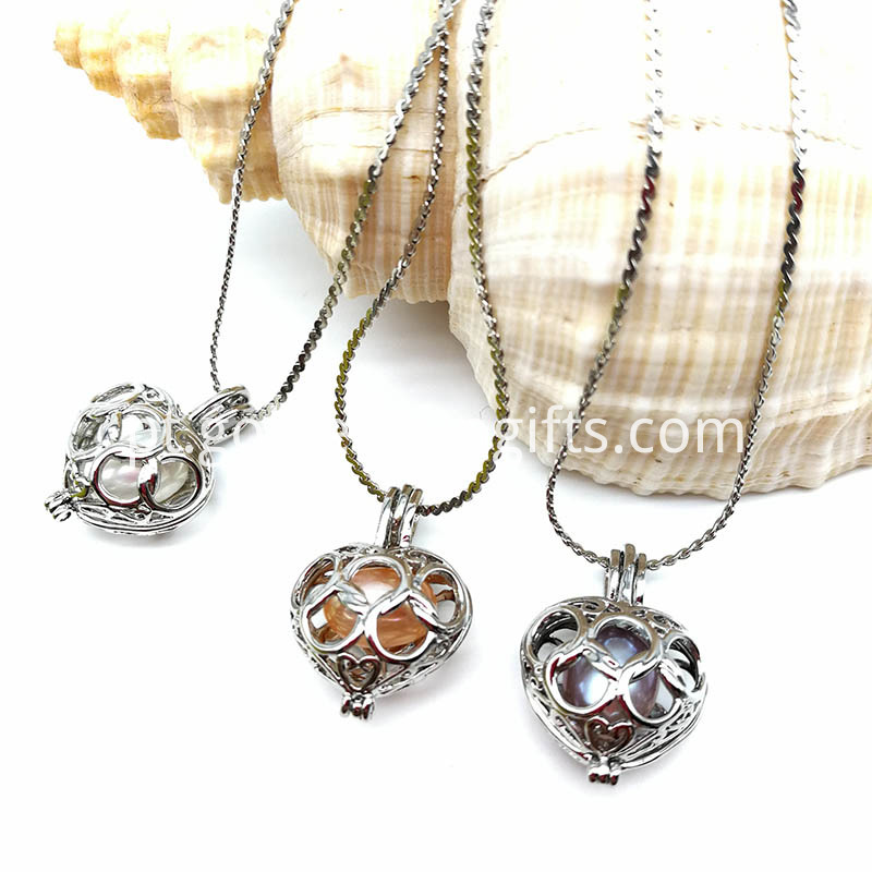 Heart Pearl Bead Cage Pendant Necklace