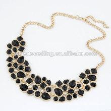 Черный короткий дизайн моды горный хрусталь ожерелье