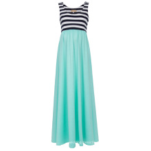 Аквамарин Катя Касин Женская полосатый лоскутное рукавов U-образным вырезом для беременных платье Макси бак KK000676-2