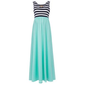 Kate Kasin Frauen Aquamarine Streifen Patchwork Ärmellos U-Ausschnitt Mutterschaft Maxi Tank Kleid KK000676-2