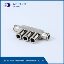 Air-Fluid Brass Nickel-Plated Equal Five Way Connector