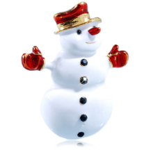Wholesales 2014 New Arrival Vintage Fashion Christmas Gift White enamel snow man gold plating Brooch Pins