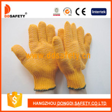 Хлопок / полиэстер трикотажные перчатки ПВХ точки (DKP202)