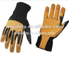 Золотой натуральная кожа механик перчатки с резиновой защитой кулака