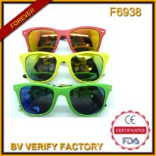 2015 Unisex Mirrored Plastic Sunglass, Colorful Sunglasses (F6938)