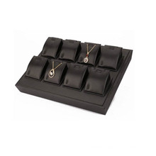 New Design 8 Slot Black Faux Leather Jewelry Pendant Display Tray