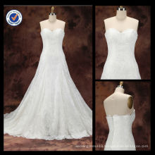 Latest design Customized 2014 Elegant Sexy Sheath Sweetheart Lace A-Line With Sweep Train Bridal Wedding Dress WA00094