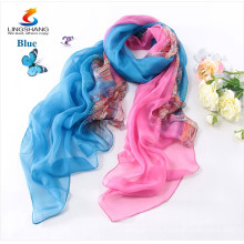Lingshang 2015 bufanda de seda fina de la protección solar de la manera del desgaste de la playa de la bufanda de las nuevas de la manera del diseño del resorte del otoño de las mujeres de seda de seda