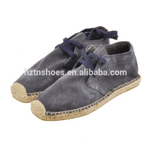 Durable fake suede men lace up casual shoes jute sole