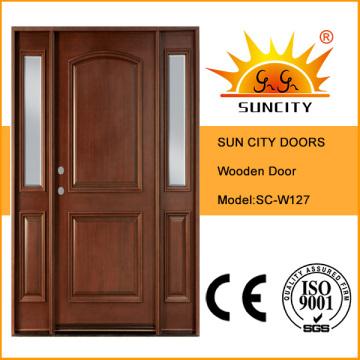 Puerta de madera maciza interior de diseño clásico con ventana (SC-W127)