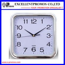 Silver Frame Logo Impression Square Plastic Wall Clock (Item27)