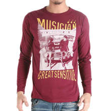 Custom Cotton Fashion Screen Printed Dark Red Men T Shirt