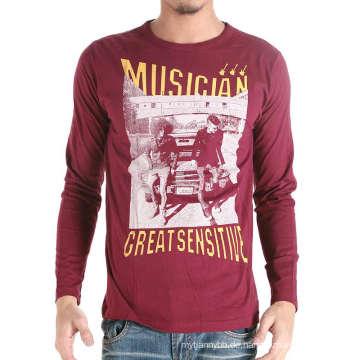 Benutzerdefinierte Baumwolle Mode Bildschirm gedruckt dunkelrot Männer T-Shirt