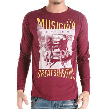 Custom Cotton Fashion Screen Printed Dark Red Men T Shirt