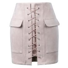Kate Kasin Sexy Womens Elegante Slim Fit Alta Cintura Hips-Envuelto Falda Gris KK000604-2