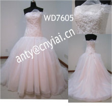 WD7605 light pink ball gown wedding dresses