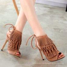 2020 new arrival 12 cm super high heel tassel women's  suede  open toe summer sandals 42