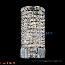 Hotel hallway round crystal wall sconce chrome crystal wall sconce 32439