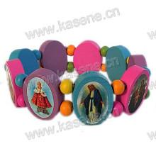 Hot Venda moda multicolor religiosa pulseira de madeira com fotos de São