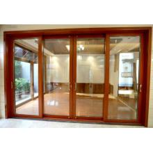 Woodwin Популярный продукт Двойная закаленная стеклянная древесина и алюминиевая раздвижная дверь
