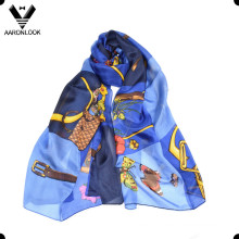 2016 Retail Stylish Belt Chain Design Silk Luxury Scarf