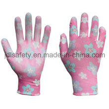 Printed Polyester Work Glove with PU Palm Coated (PN8014-4)