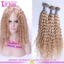 7º a alta qualidade 100% cabelo humano remy encaracolado Europeu loira virgem