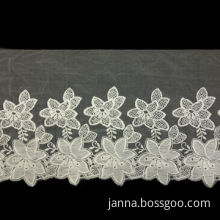 Cotton Embroidery Lace, Made of Mesh, Stretchable