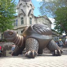 высокое качество жизнь Размер бронзовая скульптура черепаха фонтан