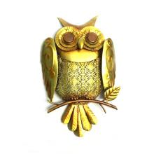 Color Stone Eye Owl Jardin Décoration murale en métal