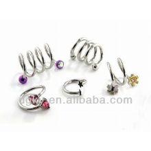 Spiral Twist Surgical brincos de orelha de aço piercing