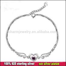 CYL002 Frete grátis! Jóia de prata Atacado, as mulheres do encanto das asas do anjo 100% 925 braceletes da prata esterlina com coração de cristal
