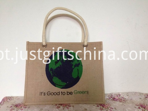 Promotional Logo Printed Jute Tote Bag