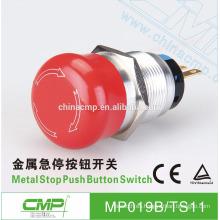 Interruptor de parada de emergencia de metal impermeable CMP 19mm 22mm ip67