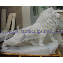 Sculpture en pierre de marbre sculpture d'animal de lion pour statue de jardin (SY-D137)
