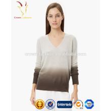Крашение 100% Шерсти Текстурированный Пуловер Свитер