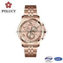 Fábrica OEM Aço Inoxidável Rose Gold Watch para Homens