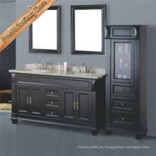Gabinete de baño clásico negro antiguo de doble lavabo