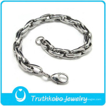 TKB-B0117 cool string wrist bands for guys custom jewelry manufacturer China silver 316L stainless steel charm bracelet
