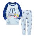 Novo Design Luz Azul Manga Comprida Impresso Animal Dos Desenhos Animados Menino Crianças Pijamas