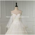 Vestido de novia de manga larga A línea corto frente largo espalda blanca swwet cuello del corazón sexy vestido de novia 2016 de encaje