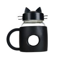 Creative Fashion Cartoon Plastic Platinum Cat Glass Student Cute Cat Transparent Water Cup Creative Mini Tea Cup