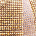 Hot Fix Diamond Mesh Rhinestone Ribbon in Gold Setting