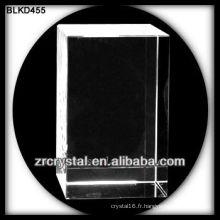 Cube de cristal vierge pour la gravure laser 3D BLKD455