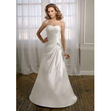 A-line Sweetheart Chapel Train Satin Lace-up Ruffled Wedding Dress