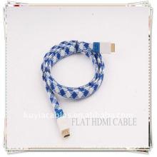 Ouro de alta qualidade chapeado azul e branco de nylon 1.5M NOVO Cabo FLAT HDMI 1.3 para Xbox 360 PS3 HDTV 1080