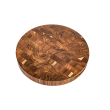 KINDOME Round Acacia Wood End Grain Slab Wood Cutting Boards With GROOVE