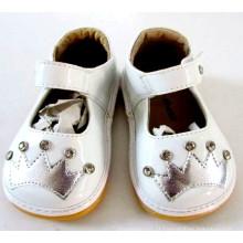 White Toddler Girl Sapatos ásperos com Sliver Crown & Shining Stones